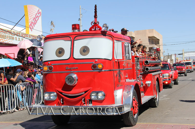 The Caborca Bomberos (Firemen) have fun at the 6th of April parade
