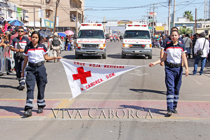 The Caborca Red Cross contingent marches in the 2015 6th of April parade