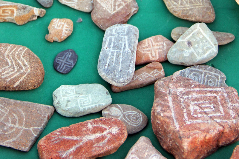Hand-etched mini-replicas of rock art petroglyphs for sale at the Casa de las Artesanias in Caborca