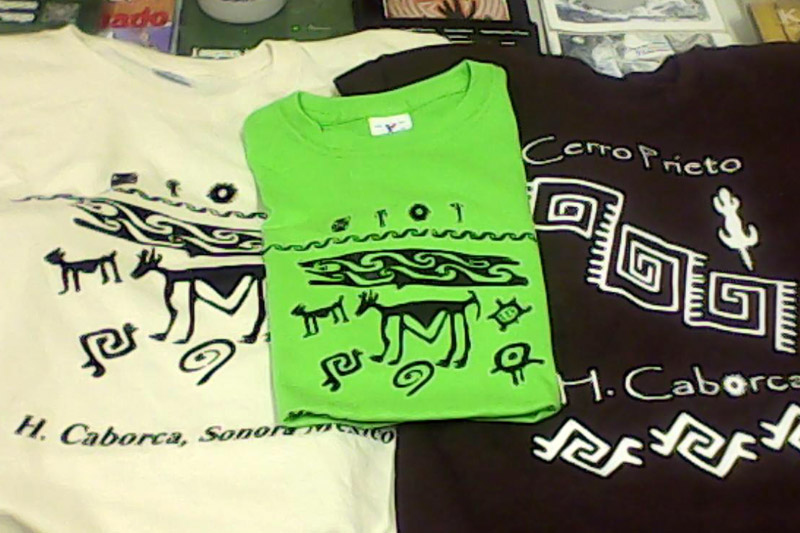 Local t-shirts for sale at the Casa de Artesanias in Caborca, Mexico